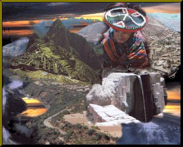 Visionary art picture of Peruvian culture having roots in the past as if time passed them by